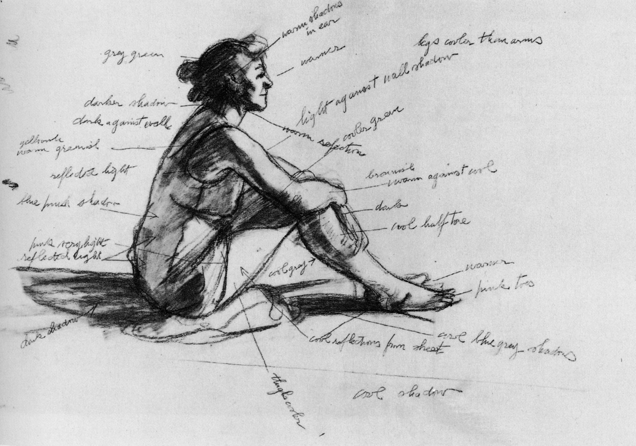 Edward hopper study drawing for morning sun 1952 with numerous value