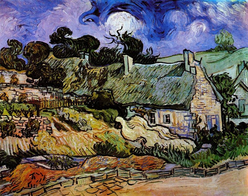 Houses With Thatched Roofs, Cordeville, Vincent van Gogh (Dutch, 1890)