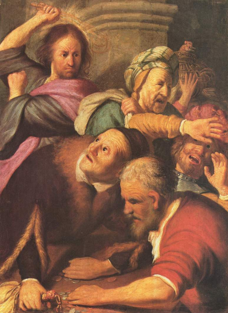 Christ Driving the Moneychangers from the Temple. Rembrandt van Rijn (Dutch, 1626)