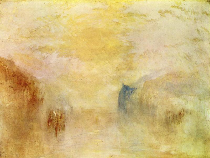 Sunrise with a Boat between Headlands, William Turner (English,1840)