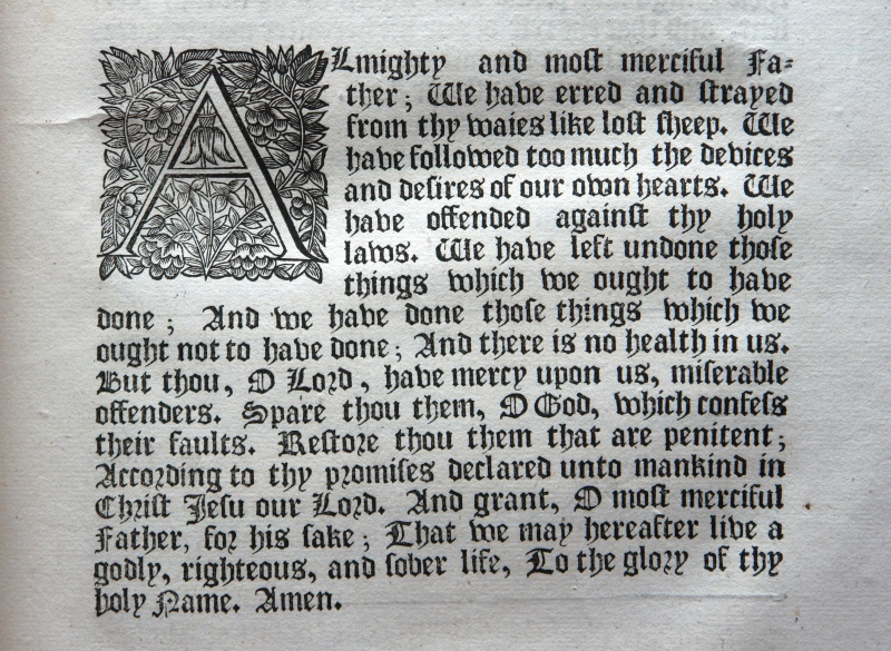 Detail from the 1662 Book of Common Prayer, Confession of Sin