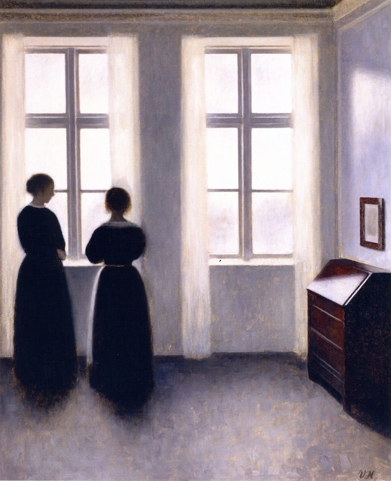 Figures by a Window, Vilhelm Hammershøi (b.1864, Danish)