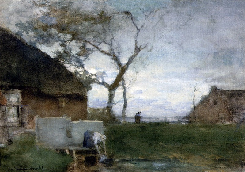 The Washing Place, Johan Hendrik Weissenbruch (b.1824, Dutch)