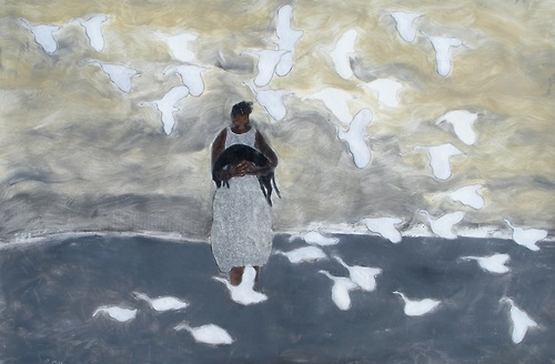 Bird, Dog, Girl and Geese, Gigi Mills (21st century American)