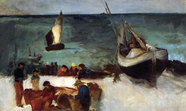 Seascape at Berck, Fishing Boats and Fishermen, Edouard Manet (1873, French)
