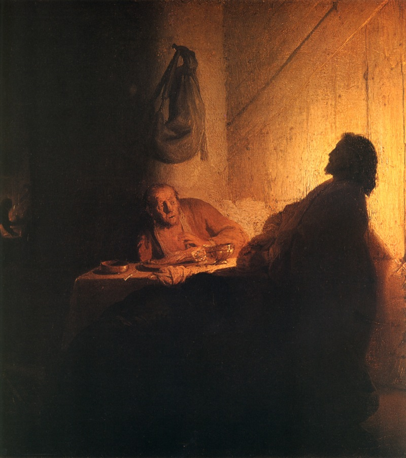 The Supper at Emmaus, Rembrandt van Rijn (1628, Dutch)