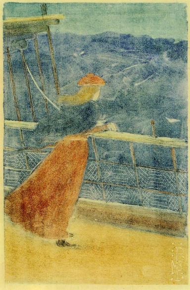 Woman on Ship Deck Looking out to Sea, Maurice Prendergast (c.1895, American)