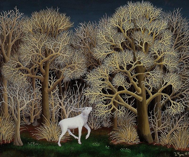 Deer in the Forest, Ivan Generalic (1956, Croatian)