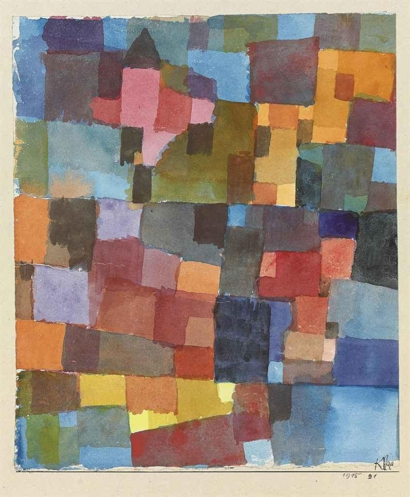 Raumarchitekturen (Auf Kalt-Warm), Paul Klee (1915, Swiss)