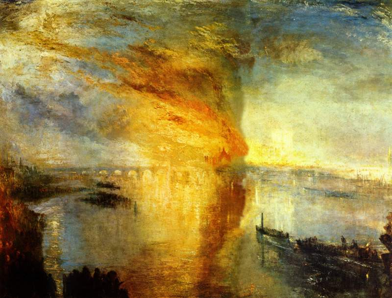 The Burning of the Houses of Parliament, William Turner (c.1834-35, British)