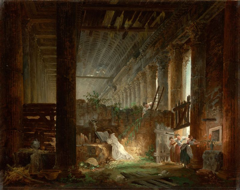 A Hermit Praying in the Ruins of a Roman Temple, Hubert Robert (1760, French)