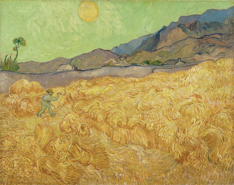 Wheat Field With Reaper (Sunrise), Vincent van Gogh (1889, Dutch)