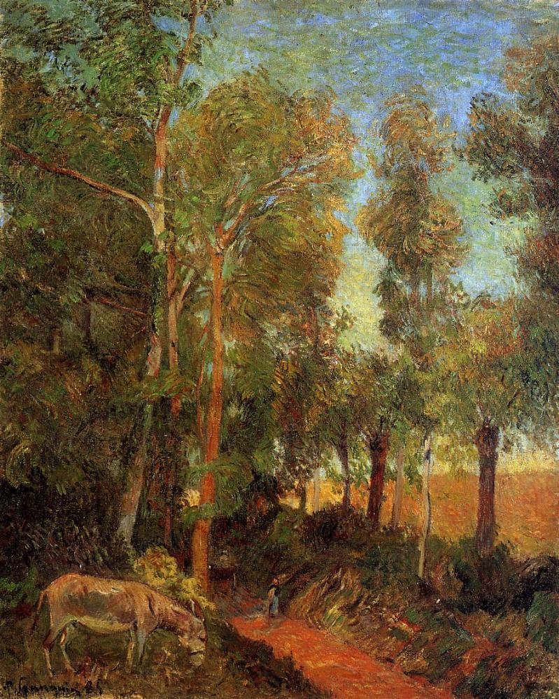 Donkey by Lane, Paul Gauguin (1885, French)
