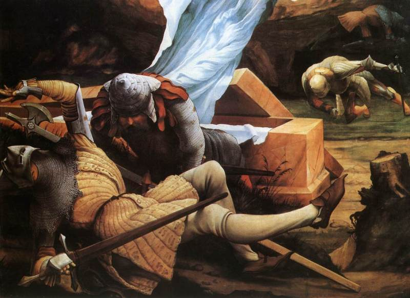 Soldiers Guarding Christ's Tomb at the Resurrection (detail from the Isenheim Altarpiece), Matthias Grünewald (c.1516, German)