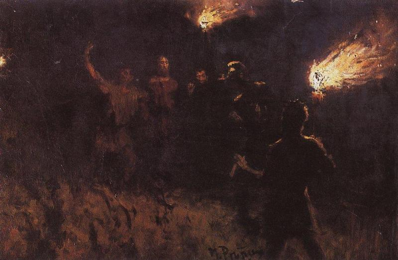 Taking Christ Into Custody, Ilya Repin (1886, Russian)