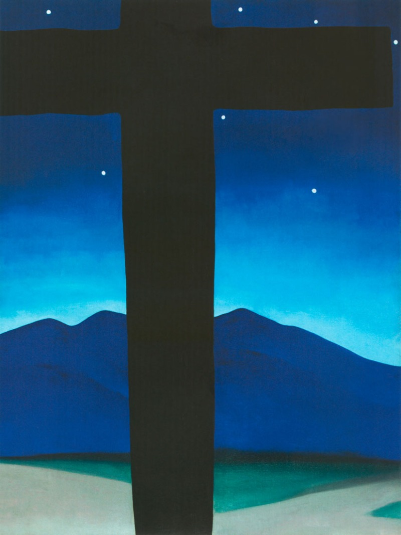 "O'KEEFFE IN NM--""Black Cross with Stars and Blue"" is a 1929 oil on canvas by Georgia O'Keeffe (1887-1986). (from ""Georgia O'Keeffe in New Mexico: Architecture, Katsinam, and the Land,"" by Barbara Buhler Lynes and Carolyn Kastner, published in 2012 by the Museum of New Mexico Press) wjohnson@abqjournal.com Fri May 03 16:06:26 -0600 2013 1367618773 FILENAME: 151883.jpg"