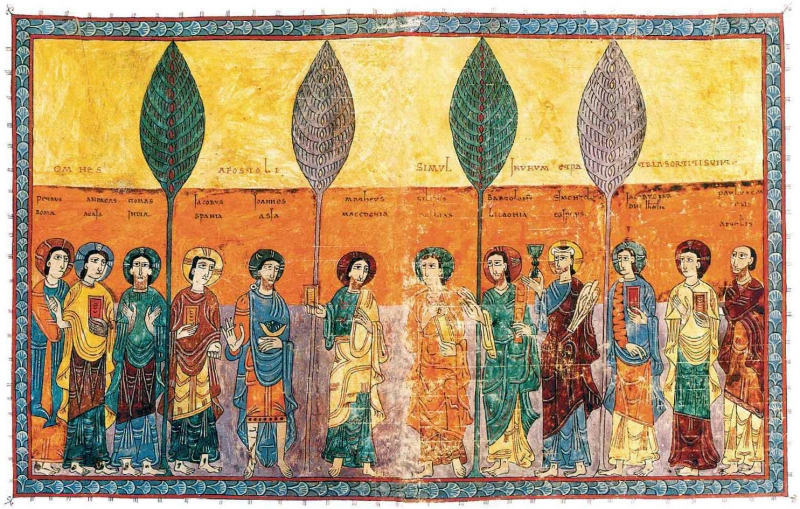 portraits-of-the-apostles-stating-where-they-preached-commentary-on-the-apocalypse-beatus-of-liebana-975ad-spanish