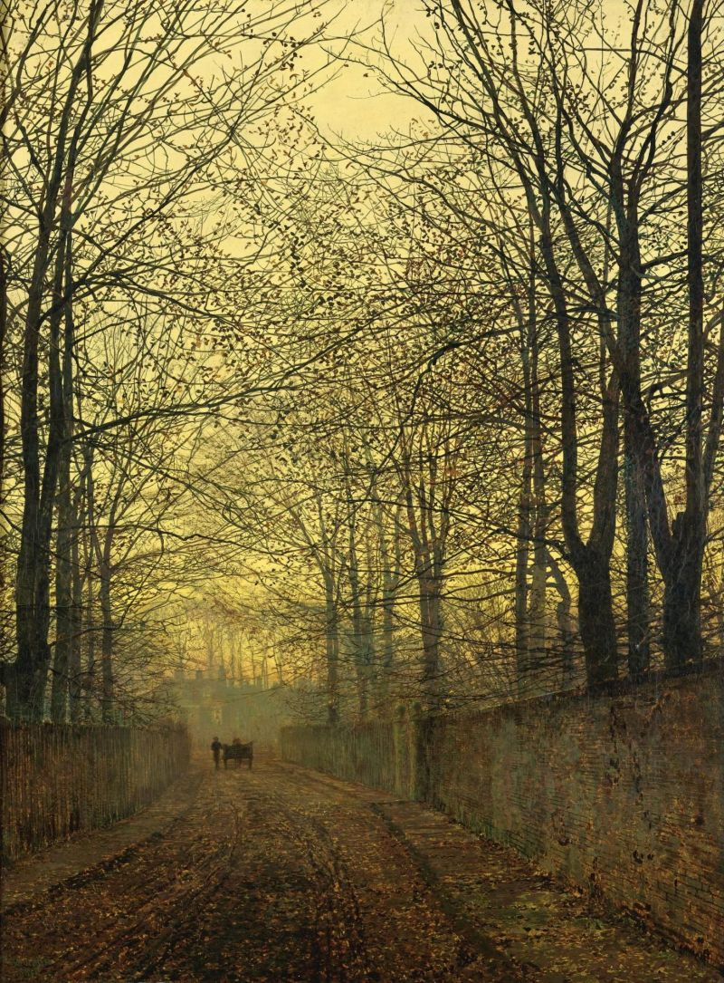 John Atkinson Grimshaw  – private collection.  Title: October Gold. Date: 1889. Materials: oil on canvas. Dimensions: 44.5 x 59 cm. Source: http://paintings-art-picture.com/paintings/wp-content/uploads/2012/04/29/John-Atkinson-Grimshaw-Paintings-October-Gold-1885.jpeg.  P.S. I have changed the contrast of the original photo.